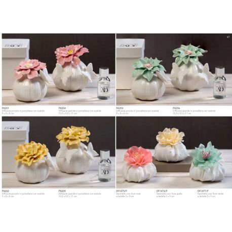 Sacchetto puffeto in cotone con fiore verde e farfalla (091477-F)