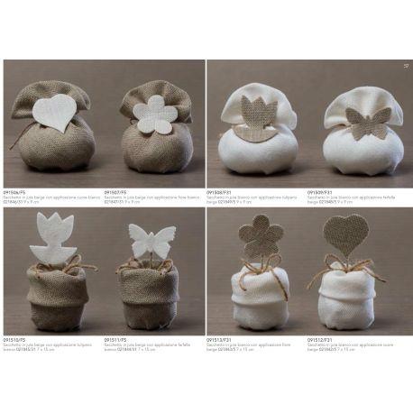 Sacchetto in juta beige con risvolto con applicazione tulipano bianco (091510-F)