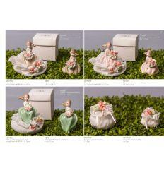 Sacchetto puffetto in organza con fiori (091570-F)