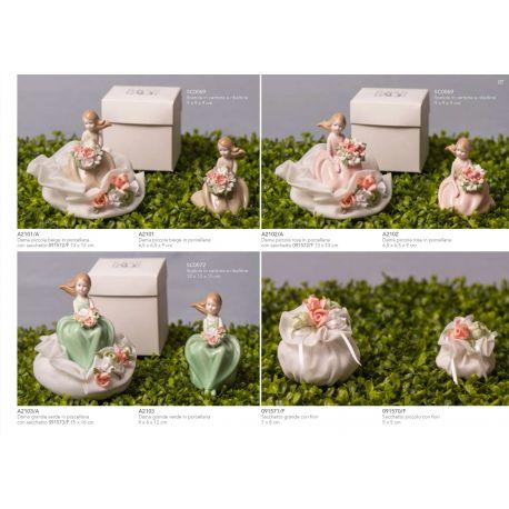 Sacchetto puffetto in organza con fiori (91571)
