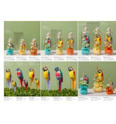 Sacchetto puffeto medio in cotone decorato con fiori e pappagallo (091609-F)