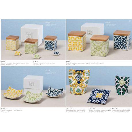 Sacchetto rettangolare piccolo in cotone stampato con calamita in ceramica in vari colori linea Positano (091621-A)