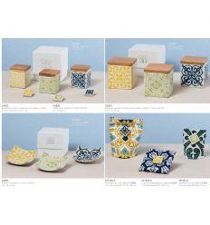 Portaconfetti cuscinetto in cotone stampato in varie decorazioni con calamita in ceramica in 3 colori assortiti (091623-A)