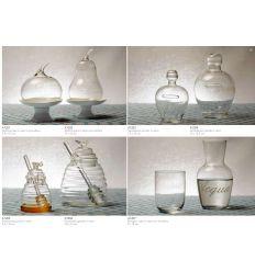 alzatina con coperchio in vetro a forma di mele e base in porcellana bianca (A1201)