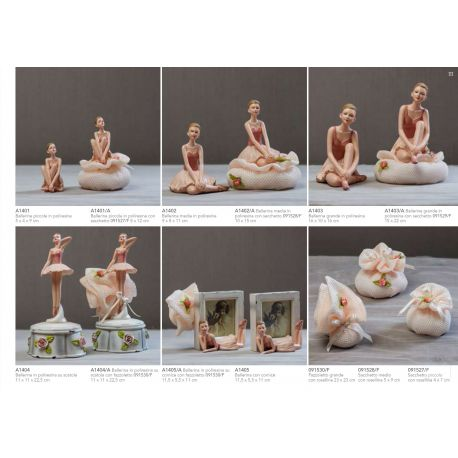 Cornice Portafoto in resina con ballerina stesa con fazzoletto in retina e fiorellini linea Ballet (A1405-A)