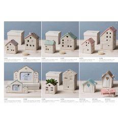 Cornice Portafoto grande a forma di casetta in porcellana bianca e tortora con scatola linea Home Sweet Home (A1808)
