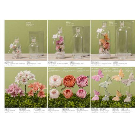 Bottiglia in vetro media decorata con fiori e farfalle linea Messaggi D'amore (A2502-AC)