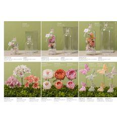 Bottiglia in vetro grande decorata con fiori e farfalle linea Messaggi D'amore (A2503-AC)