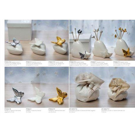 Vasetto con stick in ceramica a forma di cuore con farfallina con astuccio linea Butterfly (P7002)