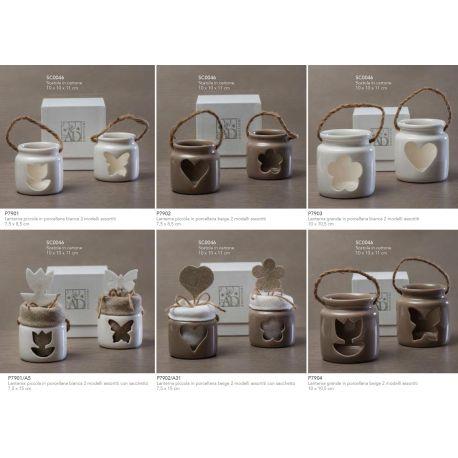 Lanterna piccola in porcellana tortora in 2 modelli assortiti con sacchettino in cotone con applicazione (P7902-A)