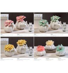 Diffusore profumatore piccolo in porcellana con farfalla e fiore verde con profumo con scatola linea Giardino Fiorito (P8206)