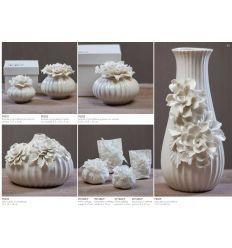 Vaso basso in porcellana con tralcio di fori con astuccio linea Ortensia (P8304)
