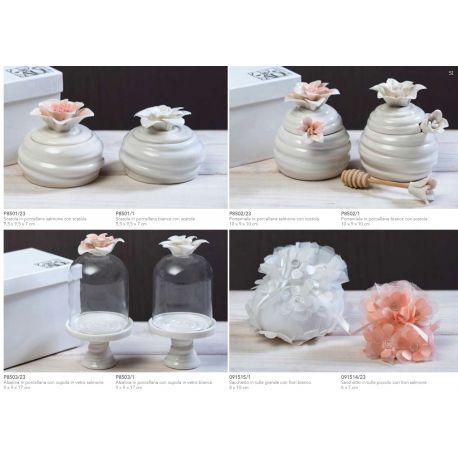 Alzatina in porcellana con cupolina di vetro con fiore bianco con astuccio (P8503-1)