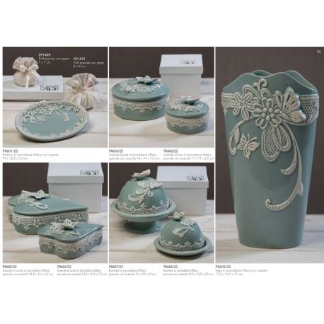 Scatola tonda grande in porcellana con decorazioni e farfalla sul coperchio con astuccio linea Vintage (P8603)