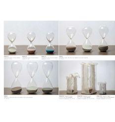 Clessidra media in vetro con sabbia colorata con scatolina PVC con fascia in organza linea Tempo (V8602-B)