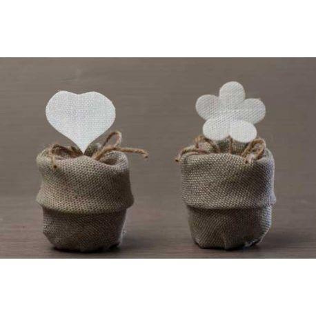 Sacchetto Grande in juta beige con risvolto con applicazione cuore bianco (091512-FG)
